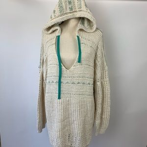 Free People Oversized Sweater Hoodie Boho NWT L